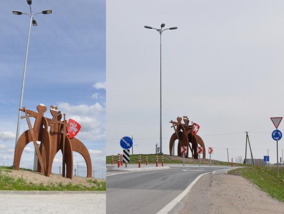 """Skulptūra """"TRYS KARALIAI"""". Žiedinė sankryža kelių Nr. 108 ir Nr.116 susikrtimo vietoje. 2015 m."""