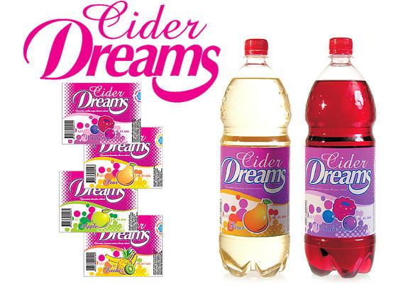 """Gėrimo """"Cider Dreams"""" grafika ir reklama."""