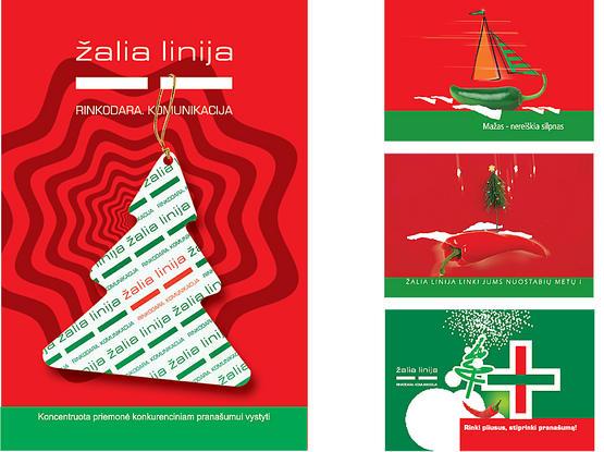 """Rinkodaros ir komunikacijos firmos """"ŽALIA LINIJA"""" kalėdiniai spausdiniai."""
