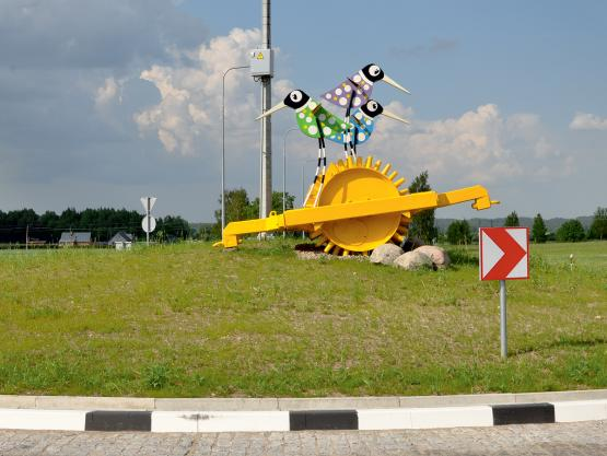 Skulptūra RAMUČIAI. Žiedinė sankryža prie Ramučių, Šiaulių apskr., 2013 m.