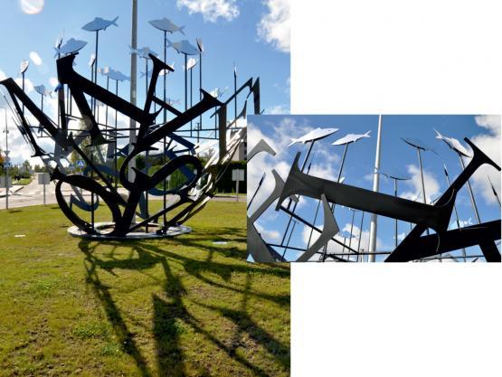 Skulptūra VIEVIO LEGENDOS. Žiedinė sankryža Vievyje, 2014.