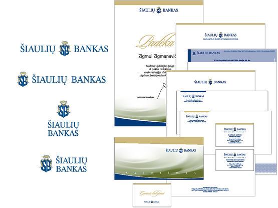 AB ŠIAULIŲ BANKAS dokumentacijos ir atributikos stilius.